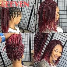 Leeven Сенегальские крученые вязанные крючком косички волосы 12 дюймов 24 дюйма синтетические косички для наращивания волос высокотемпературные волокна вязанные волосы