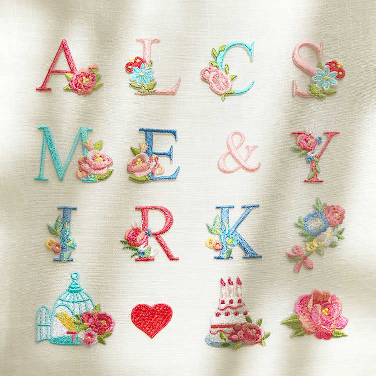 26 English Letters Cake Rose Flower Patches For Wedding Dress Iron On Lace Applique For Clothes DIY Accessory Name Patch