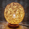 220v EU plug table lamp Rattan Ball design Takraw night light for  Bedroom Bedside living room indoor lighting  Diameter 15cm