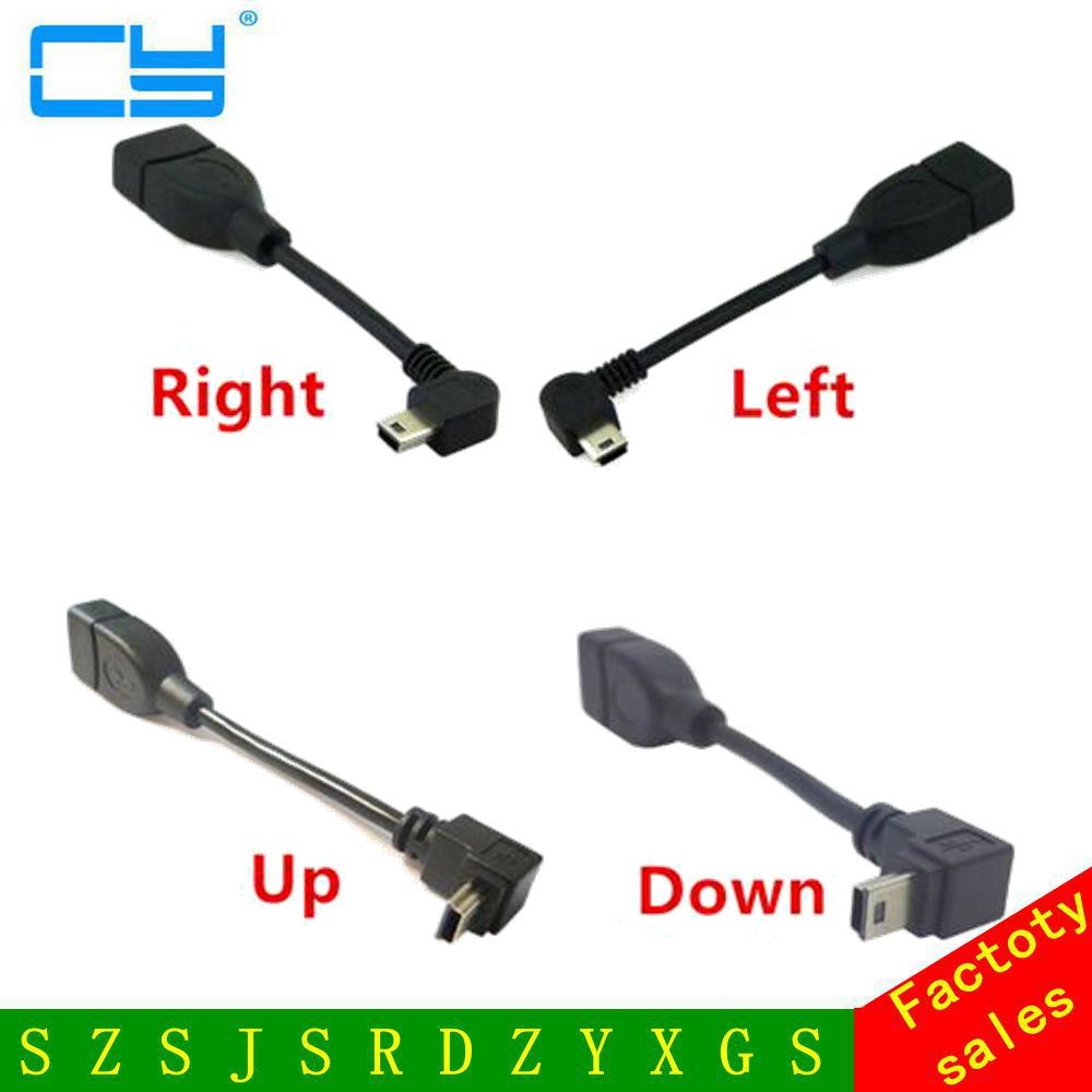 90 Degree Up & Down Angled Mini USB Type B to USB Female OTG Cable 10cm 50cm short mini usb otg cable For Car Audio DVD GPS 2pcs 90 degree up