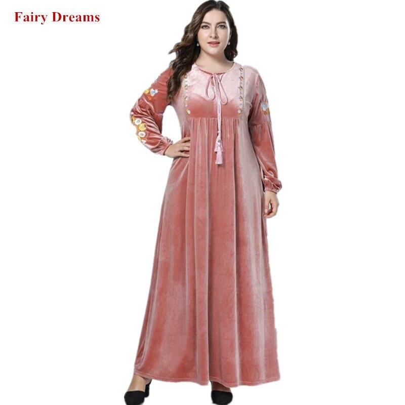 Velvet Abaya Dubai Women Plus Size Islamic Clothing Bangladesh Muslim Dress  Kaftan Turkish Pink Maxi Dresses 31b6619321d4