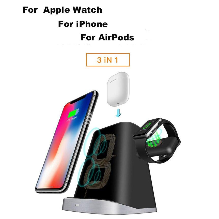 3 в 1 QI Быстрая Зарядка Qi Беспроводное зарядное устройство для iPhone Samung Беспроводная зарядка крепление док станция подставка держатель для