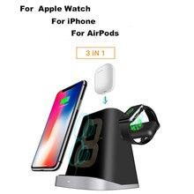 3 IN 1 QI Snel Opladen Qi Draadloze Oplader Voor iPhone Samung Draadloze Opladen Mount Dock Stand Houder Voor Apple horloge Airpod