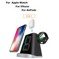 3 em 1 qi carregamento rápido qi carregador sem fio para iphone samung montagem doca suporte de carregamento sem fio para apple relógio airpod|Carregadores de celular| |  -