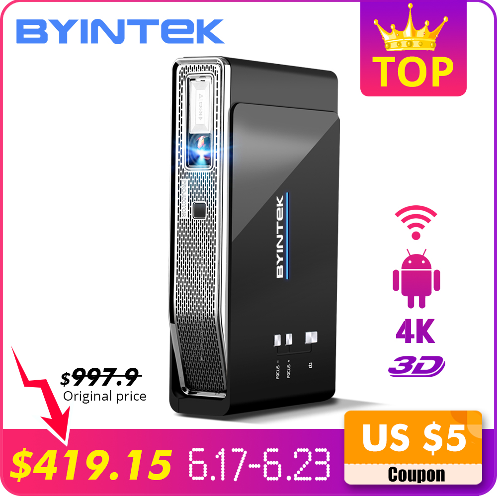 BYINTEK R15 UFO Inteligente Android WIFI Vídeo Home Theater Portátil LED lAsEr USB Mini HD DLP Projetor 3D para o Pleno HD 1080 P HDMI 4 K