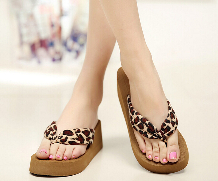 SCYL Women Platform Sandal Wedge Flip Flops leopard Feminino High Heel slippers Sandalias Mujer Plataforma Chanclas leopard все цены