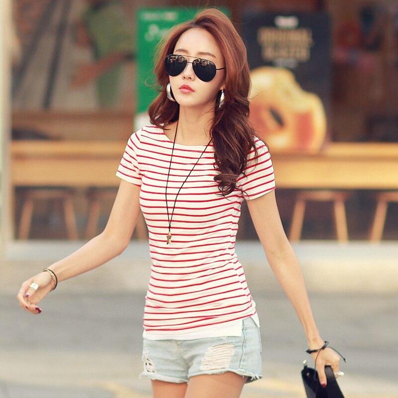 FashionStriped Classic Bottom T-shirts For Women Tops Tees O-neck Cotton T Shirt W6