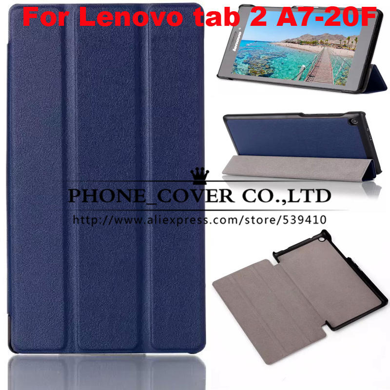 Top quality Magnet Stand pu leather case cover for lenovo Tab 2 A7 A7-20 A7-20F 7.0 tablet case  + screen protectors +stylus for lenovo tab 2 a7 30 2015 tablet pc protective leather stand flip case cover for lenovo a7 30 screen protector stylus pen