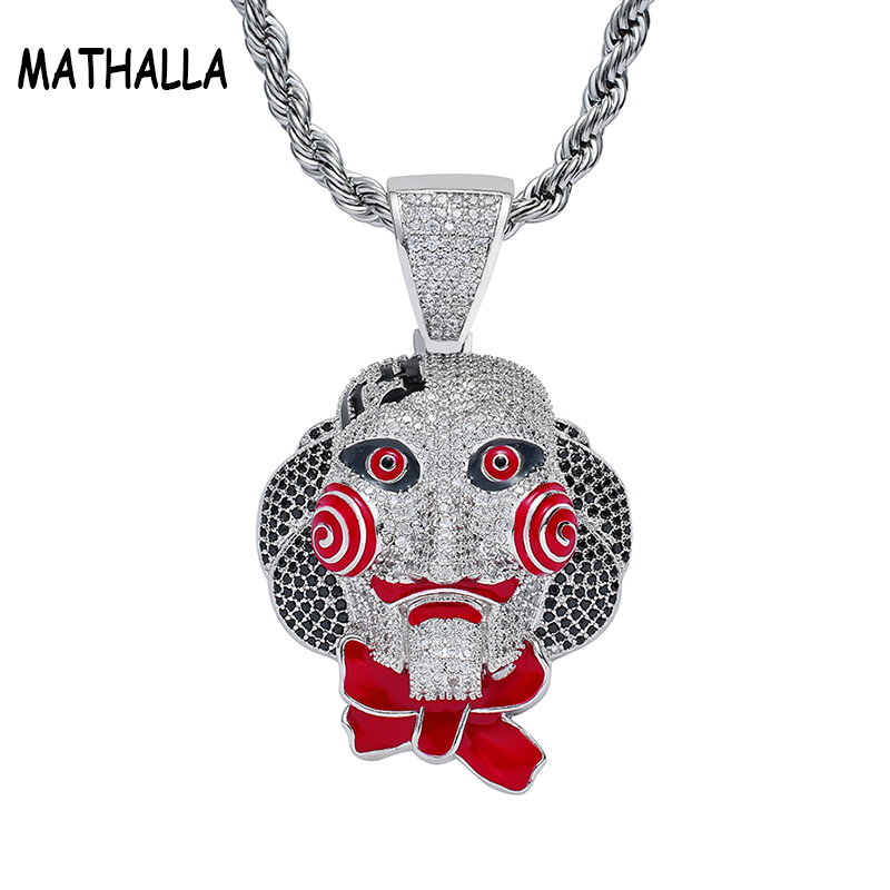 Hiphop Micro Paved Full CZ Stone 69 Saw Doll Head Mask Pendant with Stainless steel Necklace