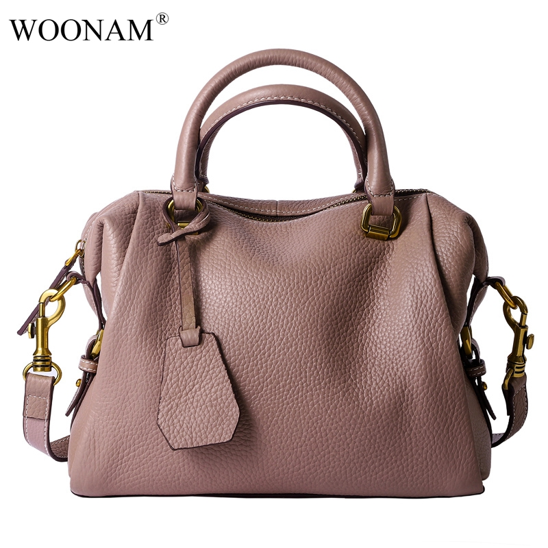 Sac Poignée grey Cuir Woonam pink À Wb600 Top Veau Mode Épaule Véritable Boston Moyen Black green Brown Femmes Main Grain En light w0TwxvO