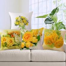Fundas de Cojines de algodón de Lino Estampado de Flores Amarillas Para la Decoración Casera Floral Print Throw Fundas de Almohada Almofadas Sofá Del Asiento De Coche de La Boda