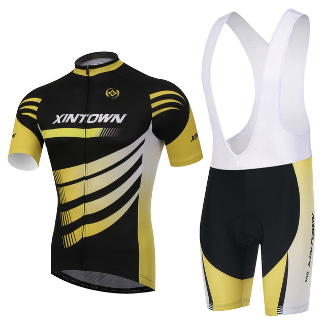 4e7c80828 Xinown Ciclismo Jersey cielo manga larga Pro Bike babero pantalones  conjunto Ropa hombre bicicleta Uniformes Maillot deportes desgaste