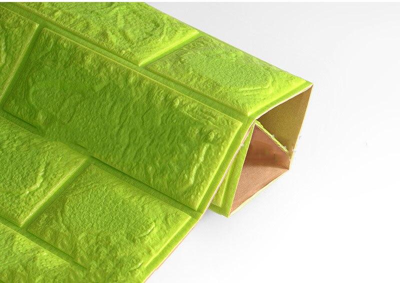 3D настенные наклейки имитация кирпича Декор для спальни водонепроницаемые самоклеящиеся обои для гостиной кухни ТВ фон Декор - Цвет: Green  60x60cm