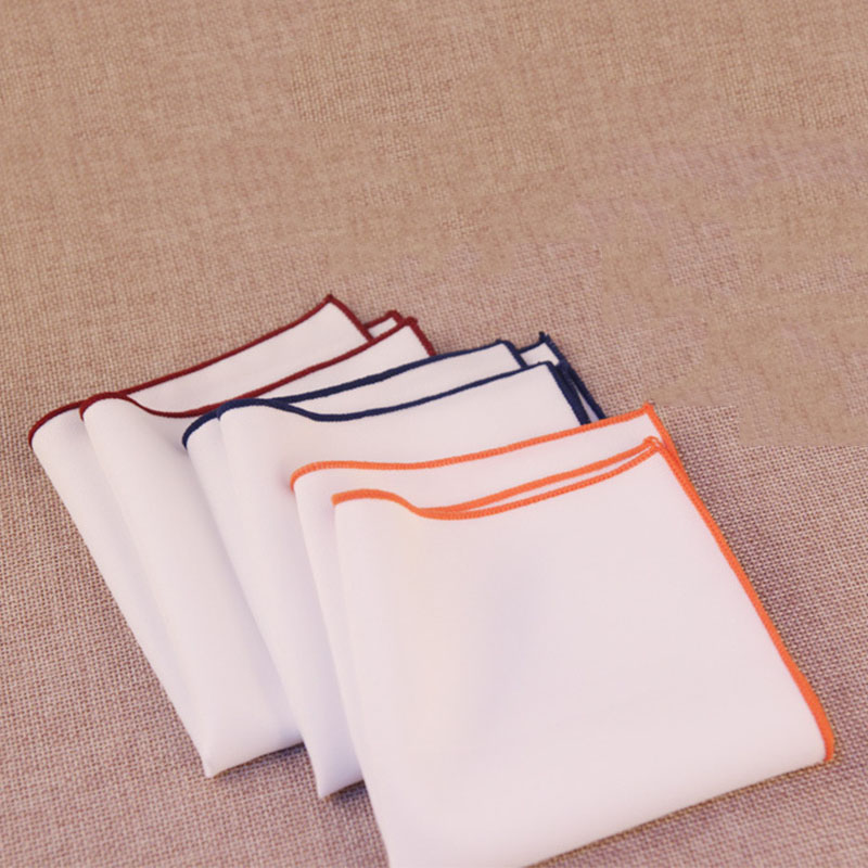 Mantieqingway Solid Color White Handkerchief For Men's Formal Business Chest Towel Hanky Cotton Wedding Hankies Pocket Square