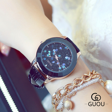 GUOU Brand Fashion Women Watch exquisite crystal Reloj mujer Analog Quartz Wrist Watch Women Leather Watches Montre Femme kevin fashion women red watch student quartz analog watches leather wristwatch elegant vintage casual crystal montre femme hour