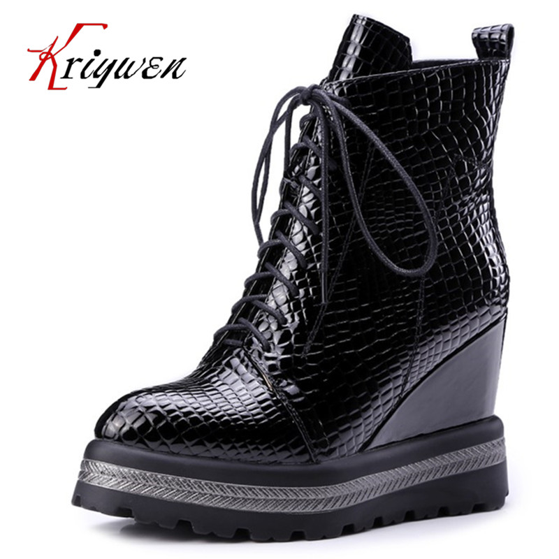 2017 Women Boots Wedges Heel High Platform round toe lace up Ankle Boots microfiber Zipper dress party Shoes Large Size 34-42