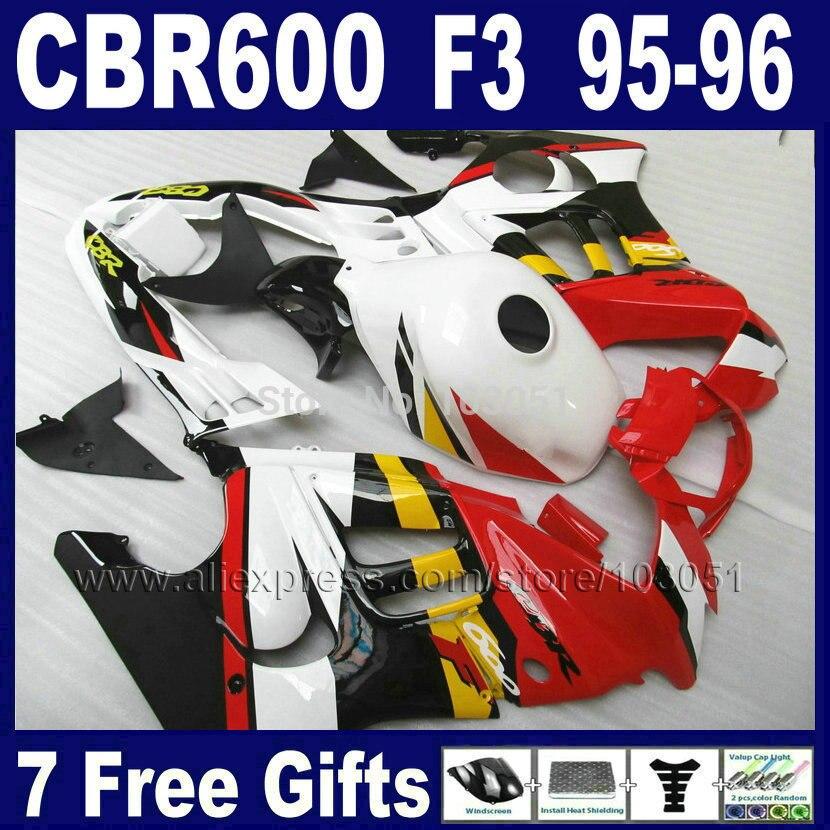 Custom OEM motorcycle fairings for Honda CBR600 F3 1995 1996 CBR 600 F3 CBR600F3 96 95 red white black fairing kits & tank cover