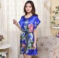 Mulheres Faux Seda Camisola De Cetim Floral Camisola Camisa Em Torno Do Pescoço de Manga Curta Noite Desgaste Do Sono Verão Sono Desgaste Casa Vestido