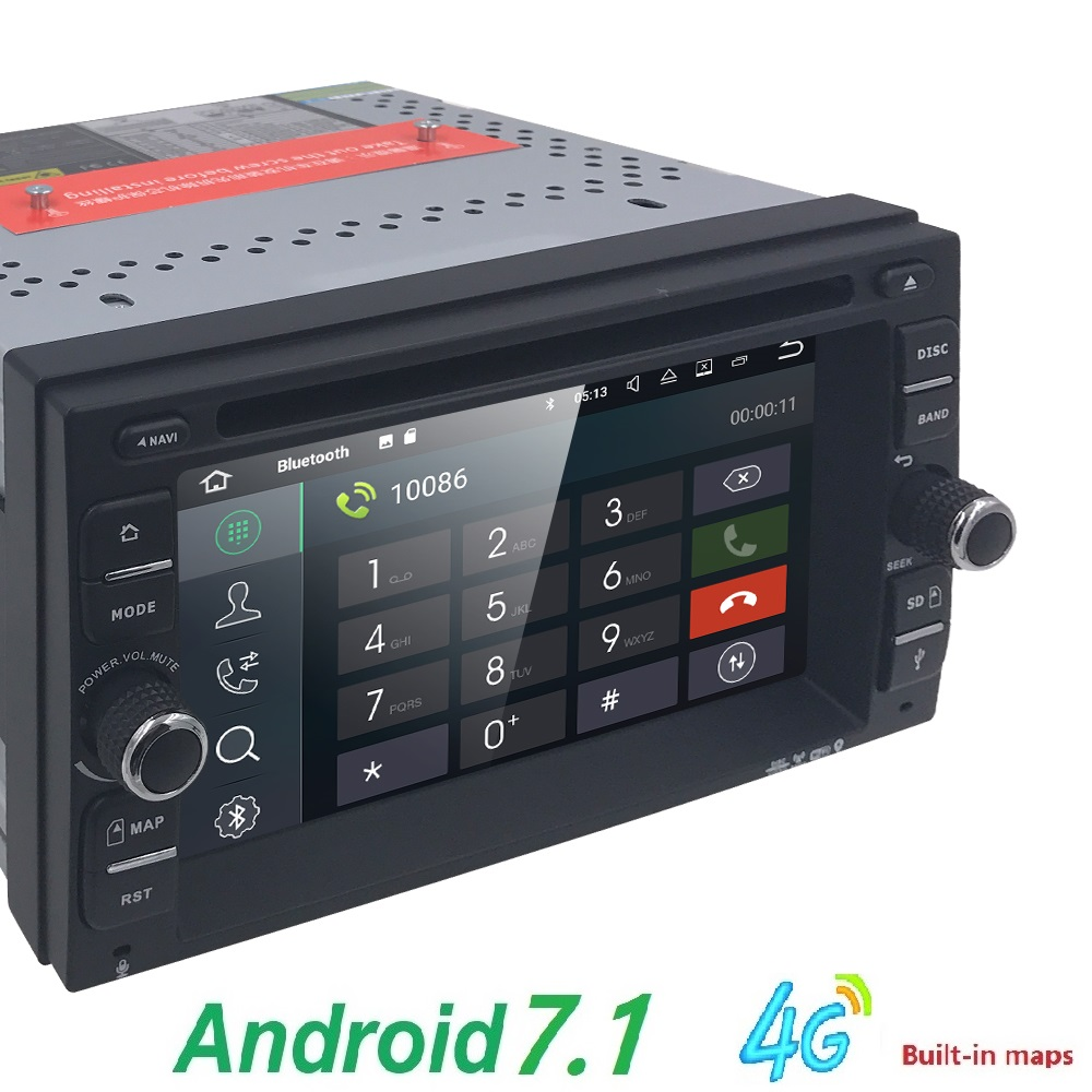 2G RAM Android 7.1 Auto Radio Ouad Core 6.2Inch 2DIN Universal Car DVD player GPS Stereo Audio Head unit Support DAB DVR OBD BT