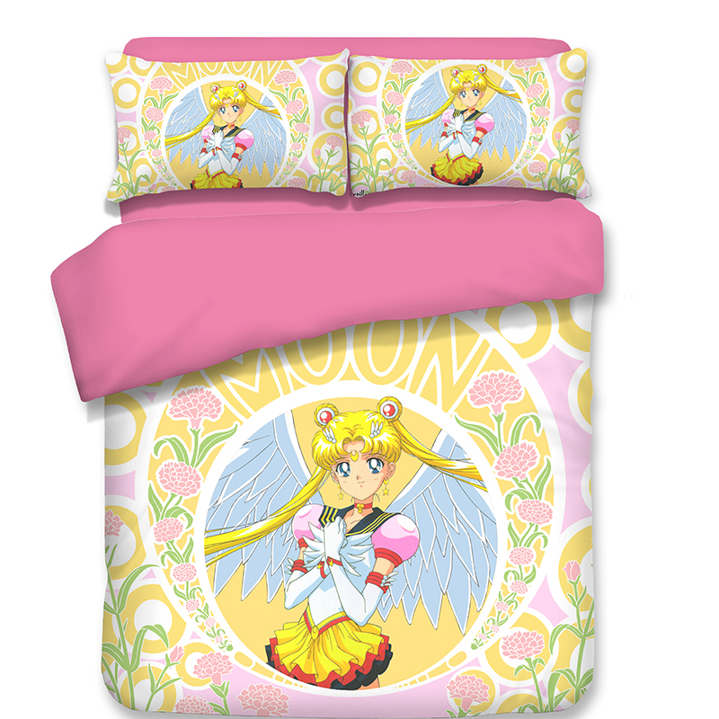 Japanese Anime Sailor Moon Bedding Sets Pink Yellow Duvet Cover Quilt Cover Pillowcase Princess Style Best-selling Bedclothes