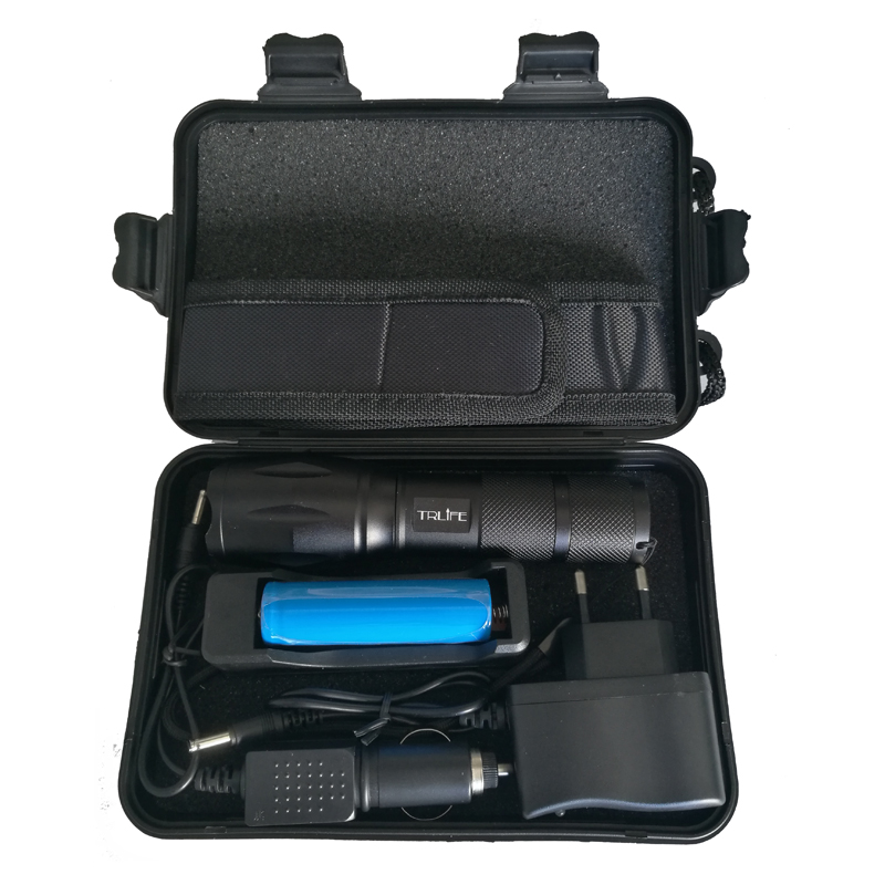 High Power 6000 Lumens CREE XM-L2/T6 Flashlight Torch Adjustable LED Lamp +AC/Car Charger+18650 Battery Free Box alonefire x160 cree xm l2 led flashlight high power lighting flashlight torch with 26650 battery charger