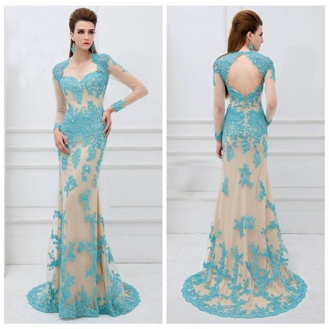 Turquoise Lace Long Sleeves Pageant Prom Bridal Party Gown Wedding Dress