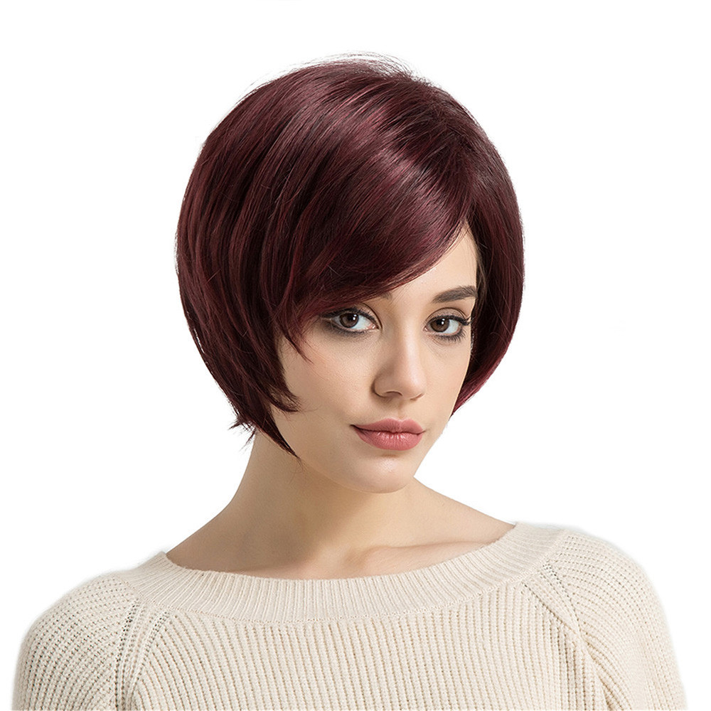 Natural Red Oblique Bangs Short Straight Hair Women's Fashion Synthetic Wig heat resistant wig full head 0910 long side parting straight colormix synthetic lace front wig