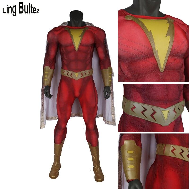 Ling Bultez haute qualité rembourrage musculaire Costume Shazam film Shazam Costume Cosplay avec ceinture pour hommes toute couleur tenue Shazam