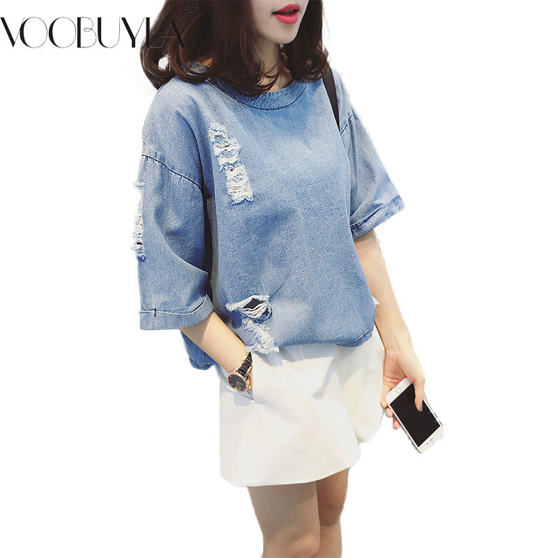 Buy Camisa Jeans Feminino Denim Shirt