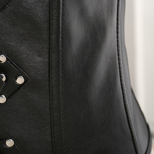 Image 5 - Corsé de cuero para mujer, corsé sexi de entrenamiento de cintura bajo el pecho 10 corsés de acero, corsé con corsé Steampunk, lencería, traje de talla grande