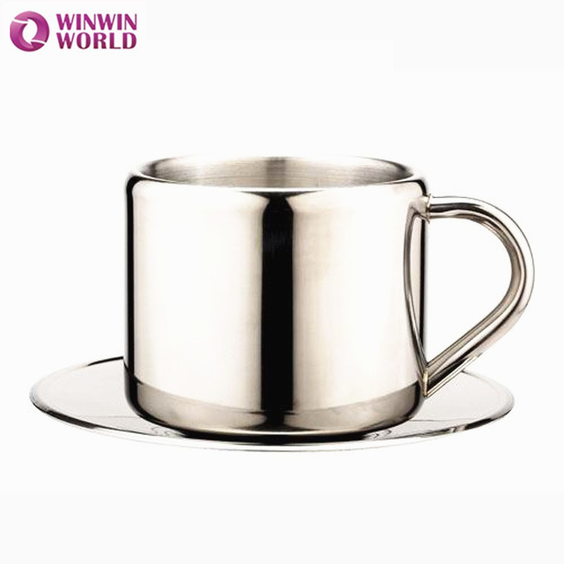 180ML Handgrip Coffee Mugs Set With Mat Fashionable Western Style Stainless Steel From China WW FC005
