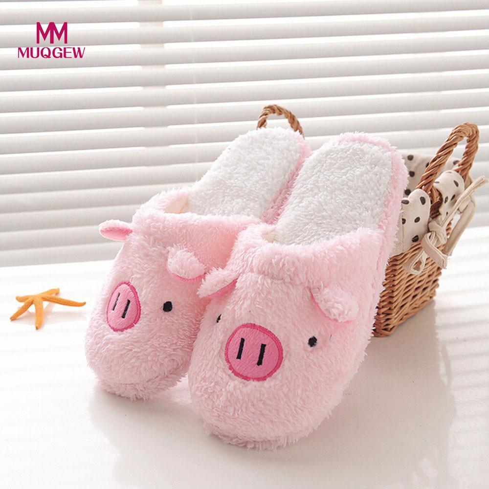 2019 nuevas mujeres encantadoras Flip Flop Linda forma de cerdo casa piso suave rayas Zapatillas Zapatos femeninos niñas invierno primavera cálido zapatos