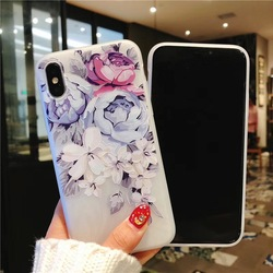 KISSCASE 3D Relief Floral Phone Case For iPhone 6s 7 XS Max Case Girly Silicon Cover For iPhone 6 S Cases iPhone 7 8 Plus XS XR 5