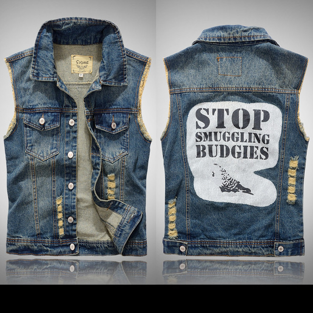 bb50ca77337 New Arrival Men s Denim Vest Cowboy Jeans Jackets Sleeveless Patch Designs  Ripped Waistcoat Plus Size M-xl High Quality