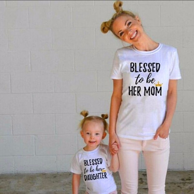 5786e434 Summer Family Look Matching Clothes Women T Shirt Mother Mom Daughter Kid  Baby Girl Bless Letter Short Sleeve T Shirt Outfit