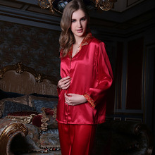 Free shipping Women's Pajamas Set Classic Sytle 100% Mulberry Silk Solid Pajamas Suit For Women Night Wear Dressing Gowns