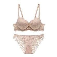 Varsbaby New sexy lace bra set solid flower three quarters women underwear