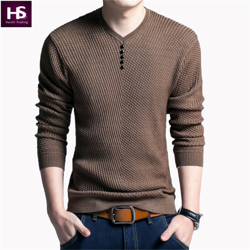 Solid Color Pullover Men V Neck Sweater Men Long Sleeve