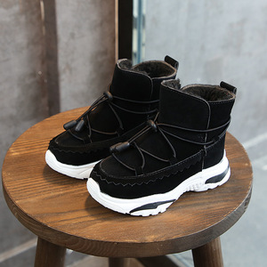 Image 2 - Winter New Plus Velvet Children Snow Boots Boys And Girls Leather Warm Waterproof Cotton Boots Students Outdoor Running Shoes
