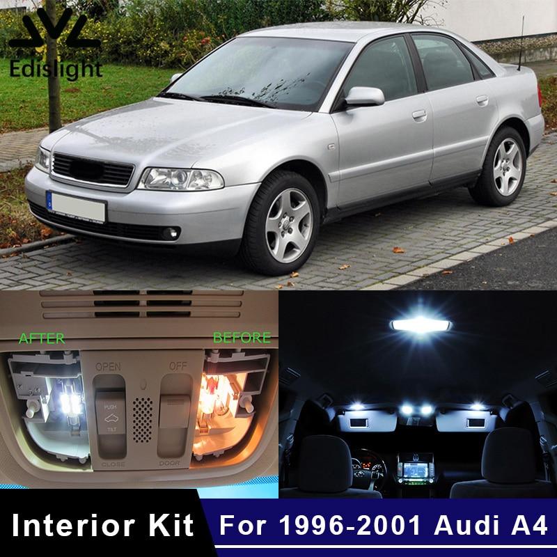 Edislight 17Pcs White Ice Blue Canbus LED Lamp Car Bulbs Interior Package Kit For 1996-2001 Audi A4 B5 Map Dome Plate Light