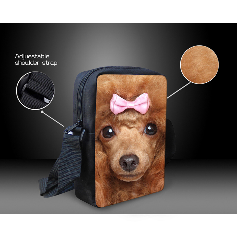 US $7 99 20% OFF|Mini Crossbody Bags Cute Poodle Puppy Dog Printing Women  Messenger Bags High Quality Girls Cross Body Bags with Zipper-in Top-Handle