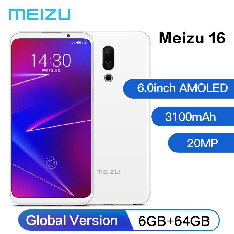 Original Meizu 16 6GB 64GB Octa Core 6.0'' 2160x1080P Mobile Phone Snapdragon 710 Front 20MP 3100mAh In-Screen Fingerprint 4G