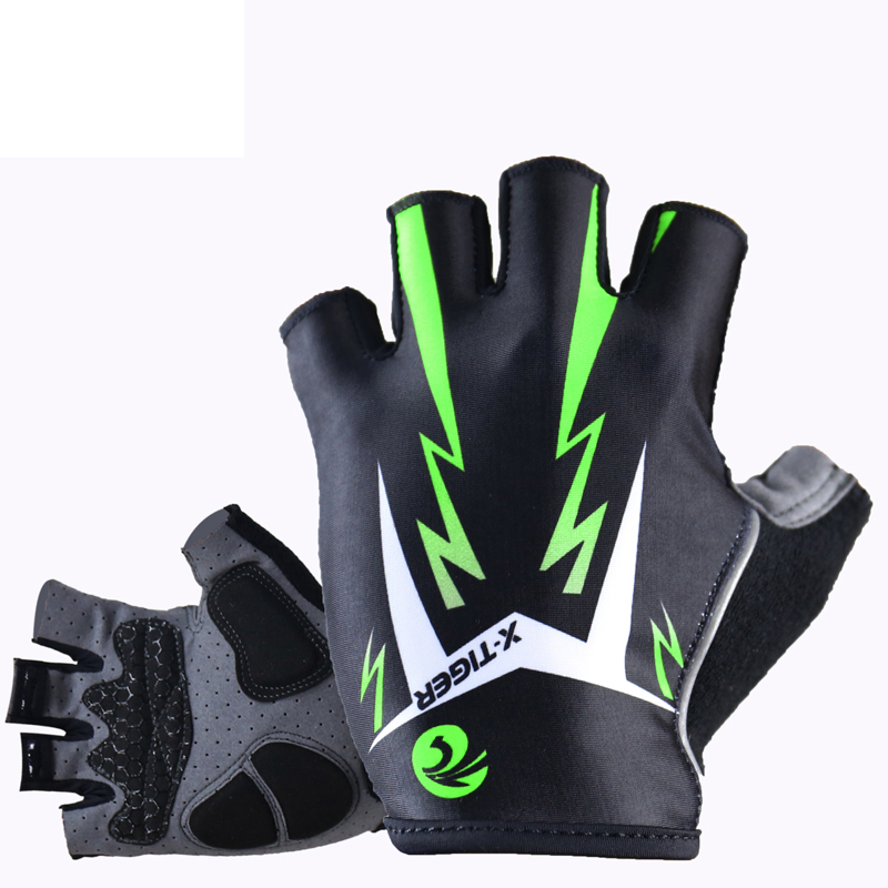 Flour Green 3D GEL Pad Half Finger MTB Bicycle Gloves Reflective Cycling Gloves Summer Sports Shockproof Mountain Bike Gloves