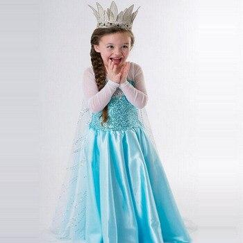 Бесплатная доставка, розничная продажа, платье для маленьких девочек новое платье Эльзы и Анны для девочек, платья принцессы праздничный ко...