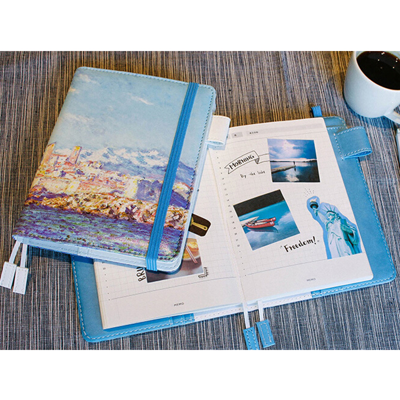 Vintage Diary A6 Notebook Sketchbook Van Gogh PU Leather Planner Cute School Diary Notepad Office Binder Stationery Supplies cute spiral leather notebook stationery fine planner notebooks diary with lock office school supplies multifunction notepad