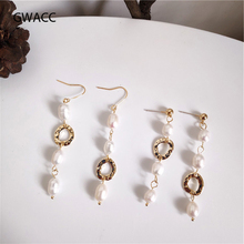 GWACC 2019 Long Chic Natural Pearls Drop Earrings For Women Girls Vintage Irregular Copper Freshwater Dangle