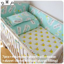 Discount! 6/7pcs  100% Cotton Baby Crib Bedding Set Baby Bed Bumper for Boy/Girl,120*60/120*70cm