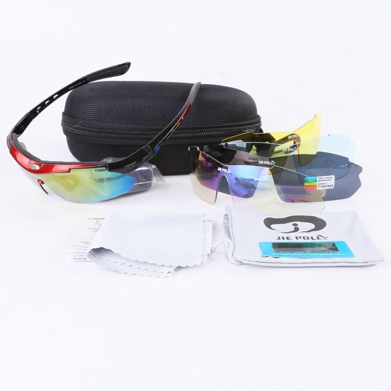 Prix pour Polarisées Vélo lunettes de Soleil 5 Lentille Kit Accessoires De Vélo VTT Moutain Vélo Lunettes Vêtements de Sport Femmes Hommes De Pêche Conduite Lunettes