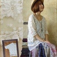 Harajuku Summer Mori Girl Sweet Shirt Tops Women Clothing Loose Floral Embroidery Lace Hollow Short Sleeved