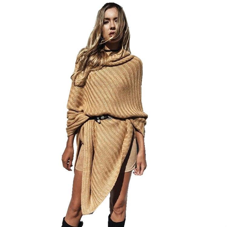 De gran tamaño de las mujeres suéteres de punto camisa del palo abrigo chal suét